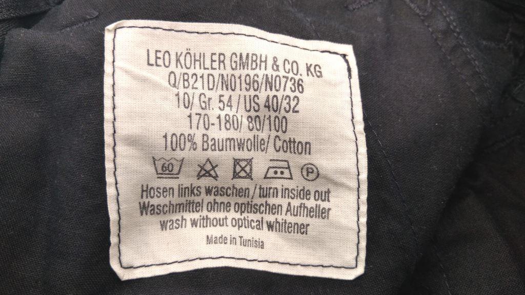 Leo Köhler Bundeswehr Hose Kommando Feldhose Waschzettel
